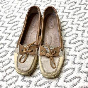 Sperry Sider Top Beige Glitter Boat Shoes size 9